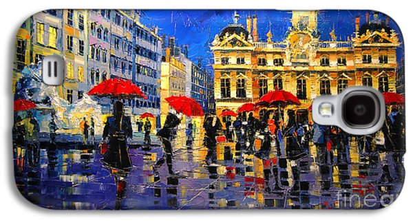 The Red Umbrellas Of Lyon Galaxy S4 Case by Mona Edulesco