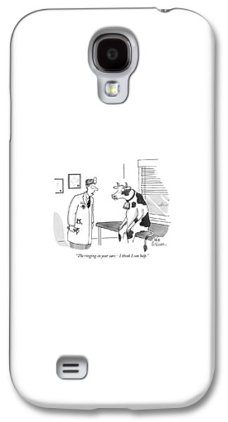 Cow Galaxy S4 Case - The Ringing In Your Ears - I Think I Can Help by Leo Cullum