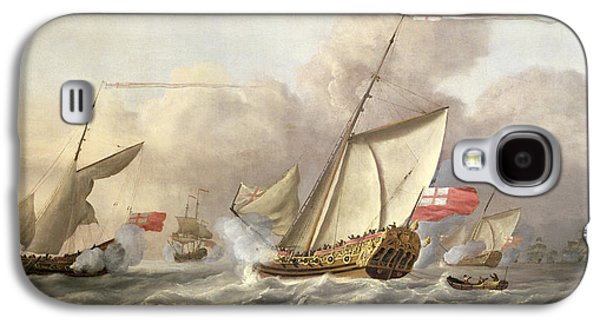 The Royal Yacht Mary Exchanging Salutes, 18th Century Galaxy S4 Case by Cornelis van de Velde
