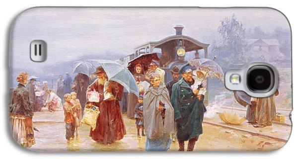 The Train Has Arrived, 1894 Galaxy S4 Case by Nikolaj Alekseevich Kasatkin