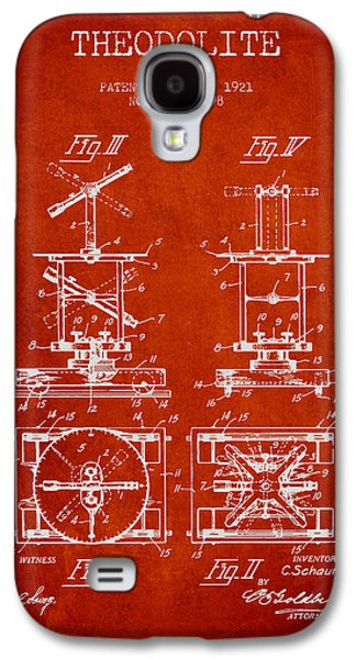 Theodolite Patent From 1921- Red Galaxy S4 Case by Aged Pixel