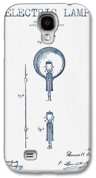 Thomas Edison Electric Lamp Patent From 1880 - Blue Ink Galaxy S4 Case by Aged Pixel