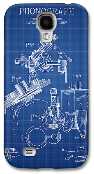 Thomas Edison Phonograph Patent From 1889 - Blueprint Galaxy S4 Case by Aged Pixel