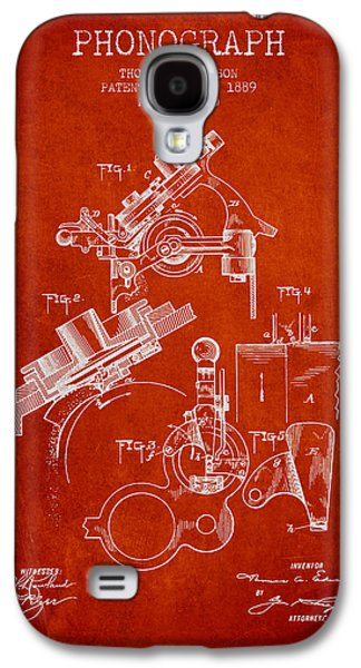 Thomas Edison Phonograph Patent From 1889 - Red Galaxy S4 Case by Aged Pixel