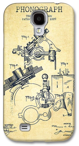 Thomas Edison Phonograph Patent From 1889 - Vintage Galaxy S4 Case by Aged Pixel