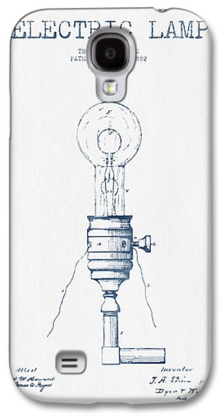 Thomas Edison Vintage Electric Lamp Patent From 1882  - Blue Ink Galaxy S4 Case