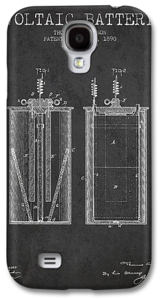 Thomas Edison Voltaic Battery Patent From 1890 - Charcoal Galaxy S4 Case by Aged Pixel