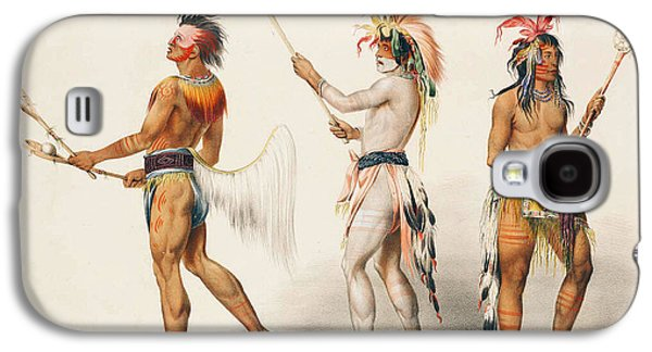 Three Indians Playing Lacrosse Galaxy S4 Case