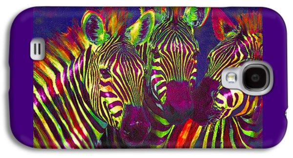 Three Rainbow Zebras Galaxy S4 Case