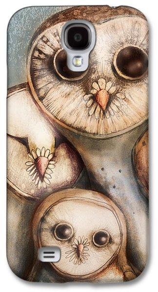 Owl Galaxy S4 Case - Three Wise Owls by Karin Taylor