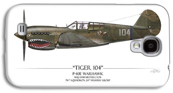 Tiger 104 P-40 Warhawk - White Background Galaxy S4 Case by Craig Tinder