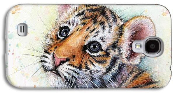Tiger Cub Watercolor Art Galaxy S4 Case by Olga Shvartsur