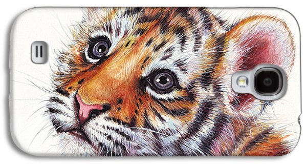 Tiger Cub Watercolor Painting Galaxy S4 Case