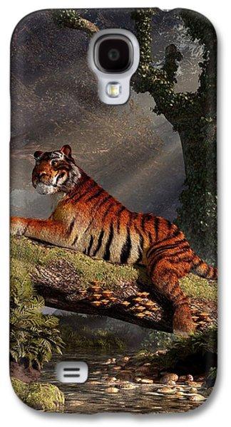 Tiger On A Log Galaxy S4 Case by Daniel Eskridge