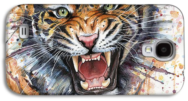 Tiger Watercolor Portrait Galaxy S4 Case by Olga Shvartsur