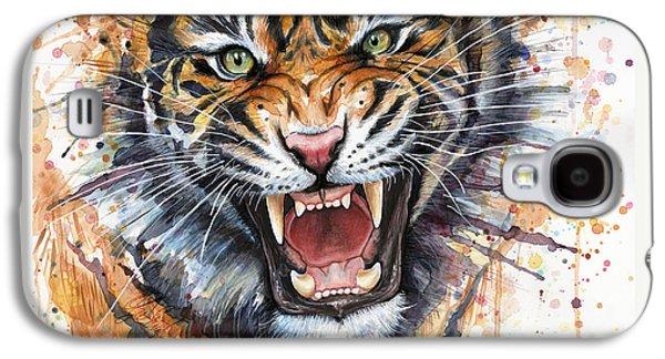 Tiger Watercolor Portrait Galaxy S4 Case