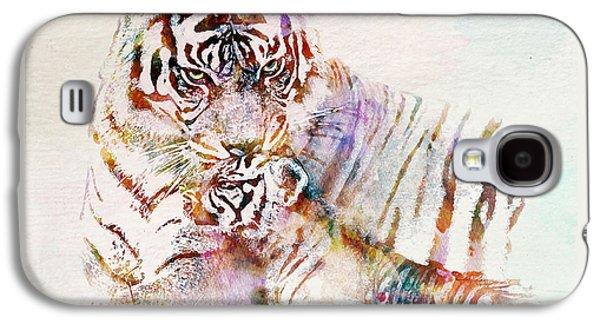 Tiger With Cub Watercolor Galaxy S4 Case