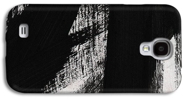 Timber- Vertical Abstract Black And White Painting Galaxy S4 Case by Linda Woods