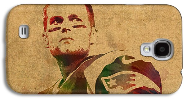 Tom Brady New England Patriots Quarterback Watercolor Portrait On Distressed Worn Canvas Galaxy S4 Case