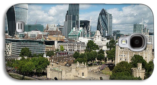 Tower Of London And City Skyscrapers Galaxy S4 Case by Mark Thomas