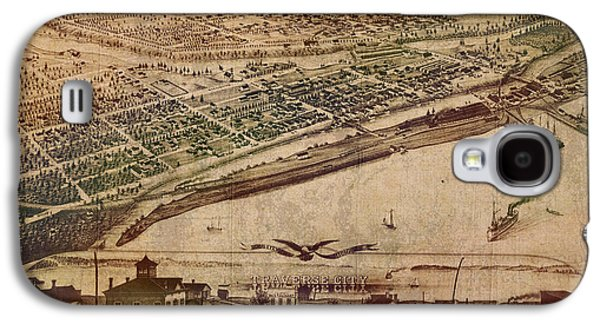 Traverse City Michigan Vintage 1879 Map Aerial View Of Grand Traverse Bay On Worn Parchment Galaxy S4 Case by Design Turnpike