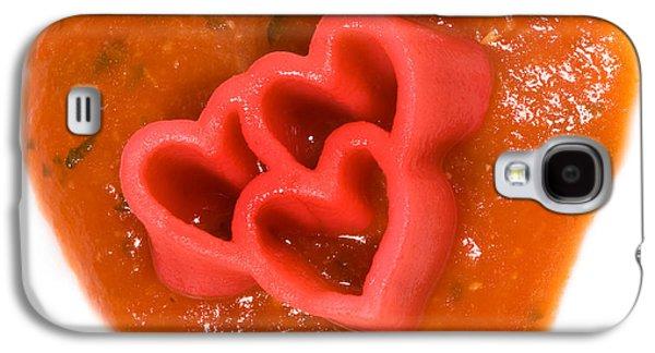 Tripple Red Pasta Hearts On Tomato Sauce Galaxy S4 Case by Iris Richardson
