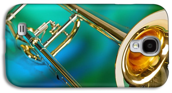 Trombone Galaxy S4 Case - Trombone Against Green And Blue In Color 3204.02 by M K  Miller