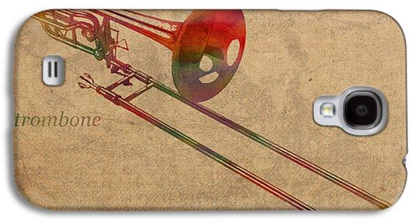 Trombone Brass Instrument Watercolor Portrait On Worn Canvas Galaxy S4 Case