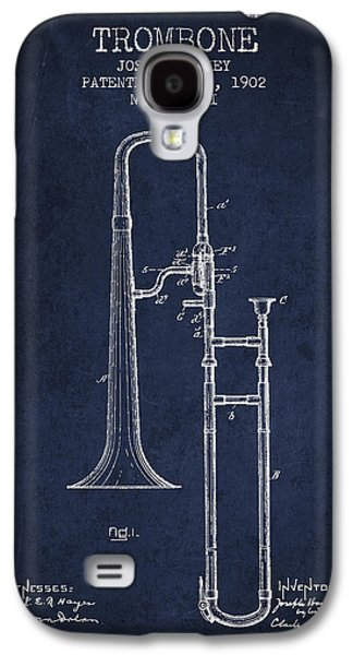 Trombone Galaxy S4 Case - Trombone Patent From 1902 - Blue by Aged Pixel