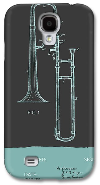 Trombone Galaxy S4 Case - Trombone Patent From 1902 - Modern Gray Blue by Aged Pixel