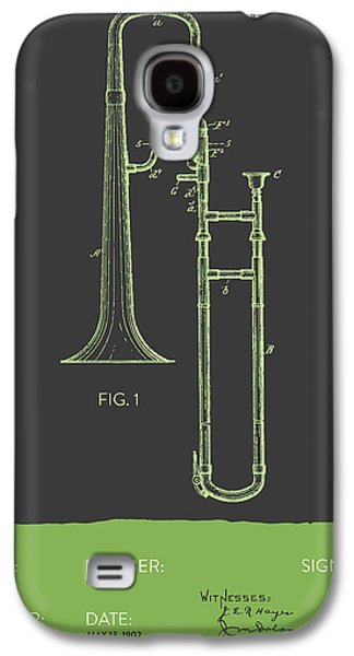 Trombone Galaxy S4 Case - Trombone Patent From 1902 - Modern Gray Green by Aged Pixel