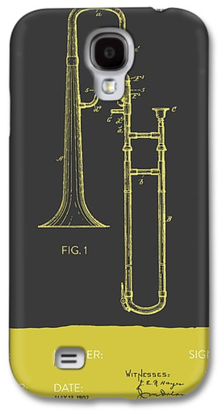 Trombone Patent From 1902 - Modern Gray Yellow Galaxy S4 Case by Aged Pixel