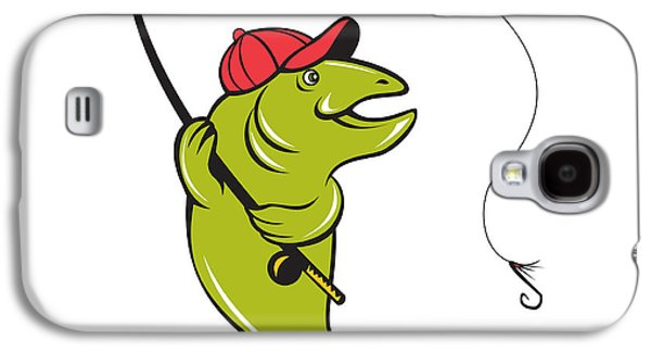 Trout Fly Fishing Rod Hook Cartoon Galaxy S4 Case
