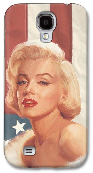 True Blue Marilyn In Flag Galaxy S4 Case by Chris Consani