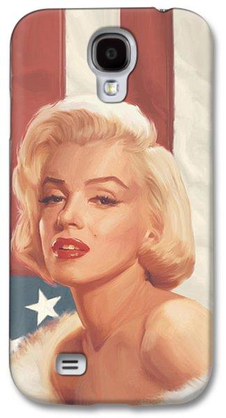 True Blue Marilyn In Flag Galaxy S4 Case