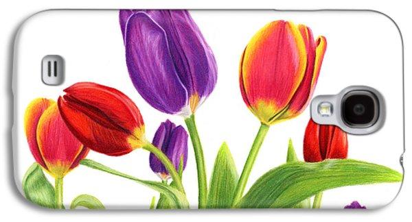Tulip Garden On White Galaxy S4 Case by Sarah Batalka