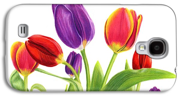 Tulip Garden On White Galaxy S4 Case