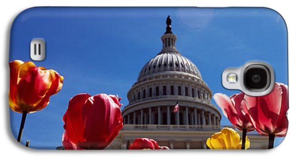 Capitol Building Galaxy S4 Case - Tulips With A Government Building by Panoramic Images