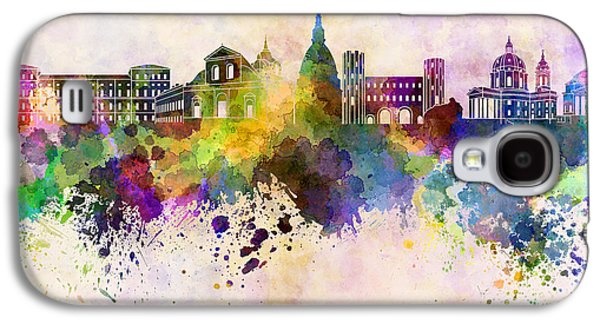 Turin Skyline In Watercolor Background Galaxy S4 Case by Pablo Romero