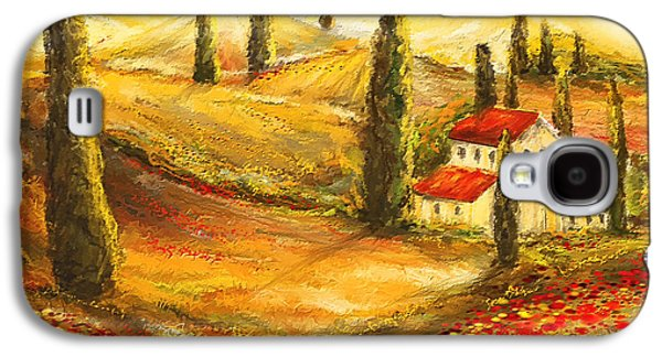 Tuscan Poppies - Tuscan Poppy Fields Impressionist Galaxy S4 Case