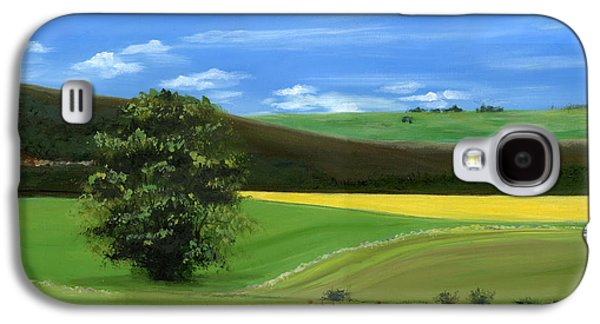 Tuscan Tree With Poppy Field Galaxy S4 Case
