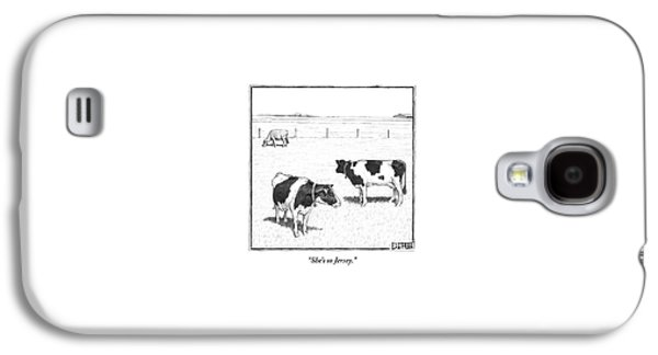 Two Averagely Spotted Cows Looking At A Plain Cow Galaxy S4 Case