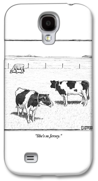 Cow Galaxy S4 Case - Two Spotted Cows Looking At A Jersey Cow by Matthew Diffee