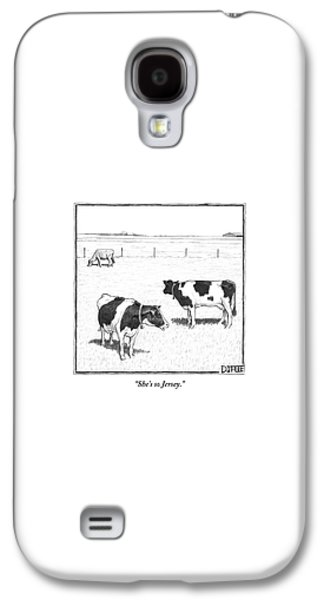 Rural Scenes Galaxy S4 Case - Two Spotted Cows Looking At A Jersey Cow by Matthew Diffee