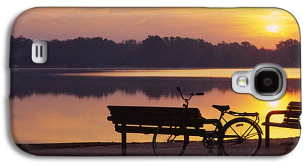Two Benches With A Bicycle Galaxy S4 Case by Panoramic Images