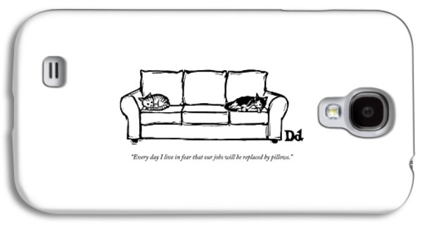 Two Cats Curl Up At Each End Of A Sofa Galaxy S4 Case by Drew Dernavich