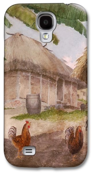 Two Chickens Two Pigs And Huts Jamaica Galaxy S4 Case by William Berryman