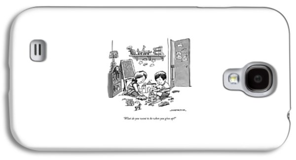 Two Children Converse While Playing With Blocks Galaxy S4 Case