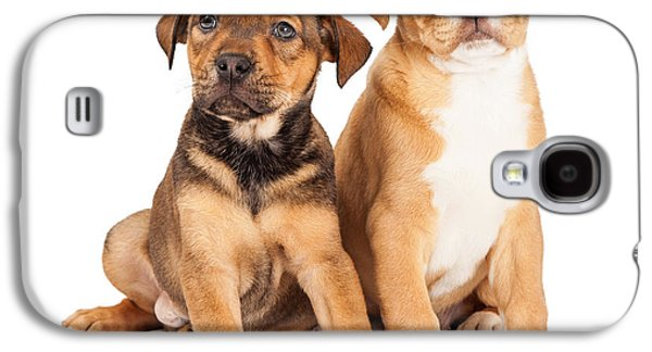 Two Cute Crossbreed Puppies Galaxy S4 Case by Susan Schmitz