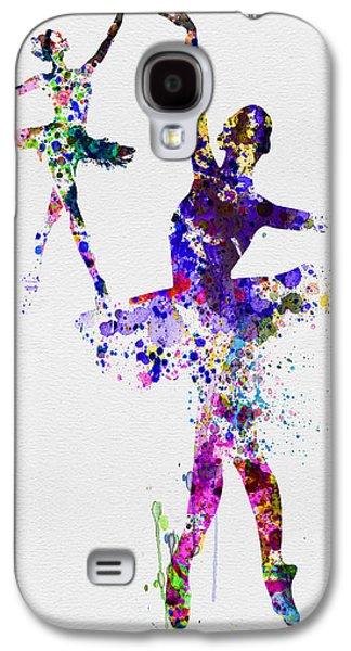 Two Dancing Ballerinas Watercolor 4 Galaxy S4 Case by Naxart Studio